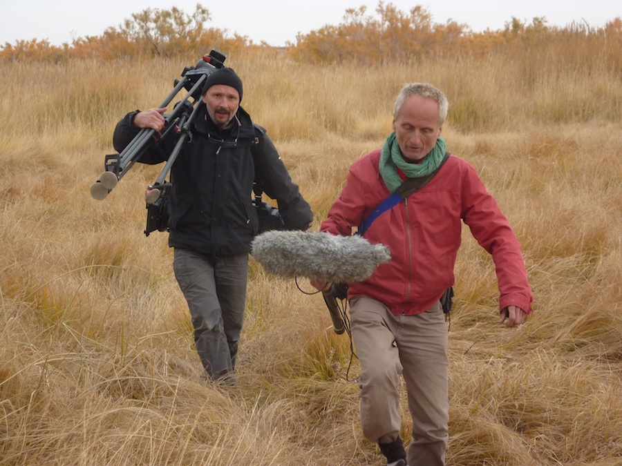 French TV personnel making a TV documentary about the wild camel