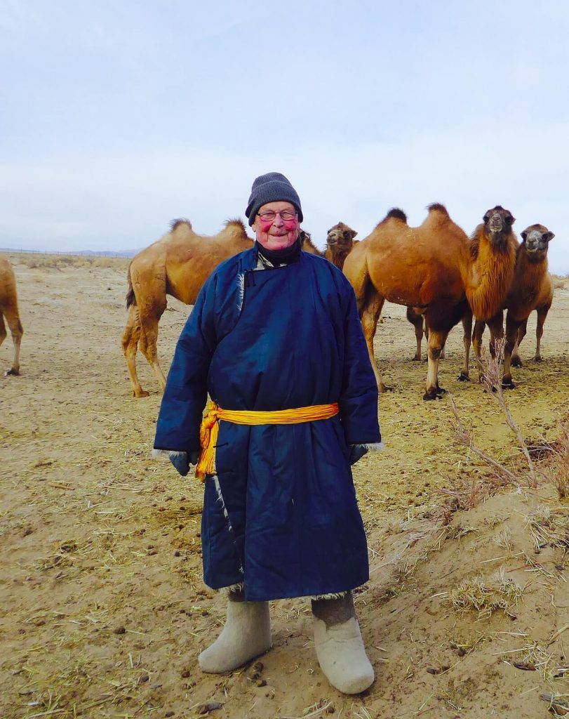 John Hare keeping warm in Mongolia, January 2019